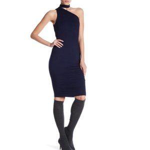 Bailey 44 Navy Choker One Shoulder Dress